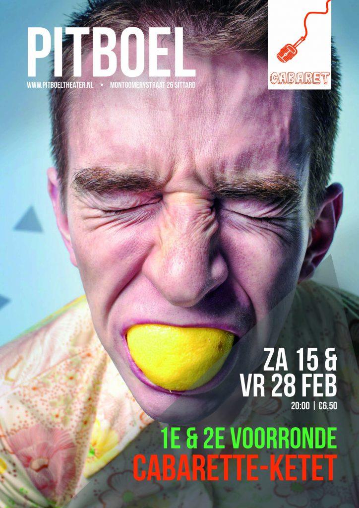 Cabarette-ketet 2020. 1e voorronde za 15-2-20. 2e voorronde vrij 28-02-20. Pitboel Theater
