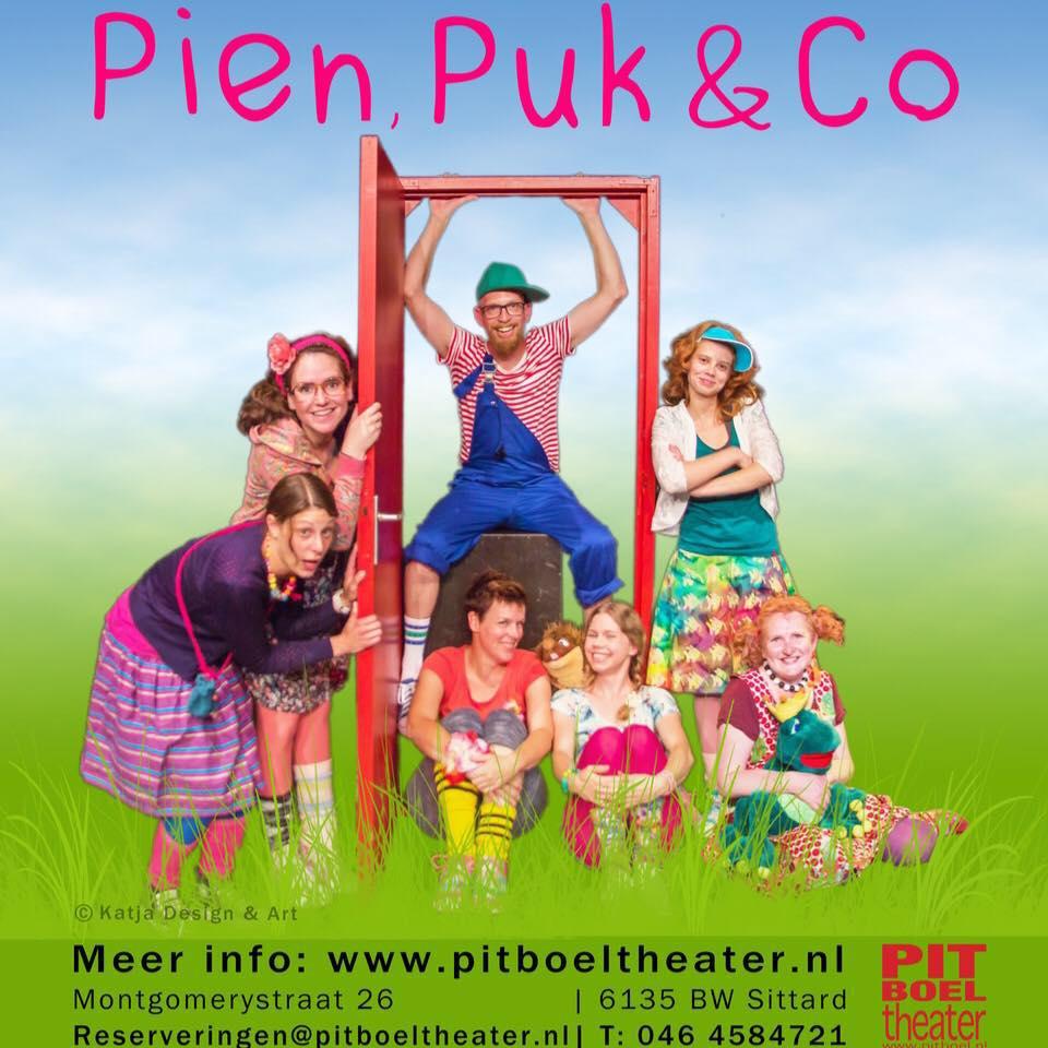 Pien, Puk & Co meespeeltheater zijn meisjes en jongens die allerlei gekke avonturen beleven.elke 1e en 3e zondag van de maand telkens in een ander thema.